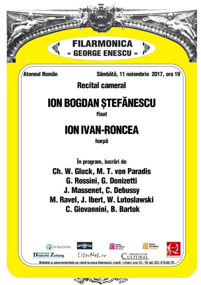 Ion Bogdan Ștefănescu (flaut) și Ion Ivan Roncea (harpă)